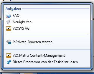 www.viomatrix.de als Web-App mit Tasks in der Windows-Taskleiste
